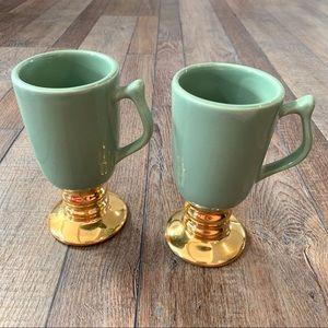 Hall Pottery Irish Coffee Footed Mugs